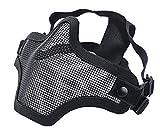 "Coxeer Tactical Airsoft Mask ""Striker"" Steel Metal Mesh Lower Half Face Mask (Two Belt Black)"