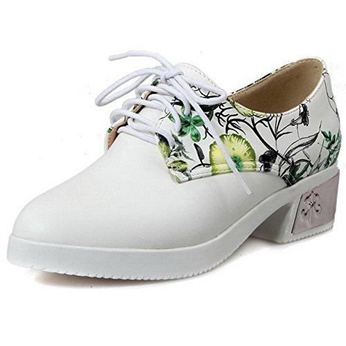 AllhqFashion Damen PU Leder Gemischte Farbe Schnüren Rund Zehe Mittler Absatz Pumps Schuhe Grün