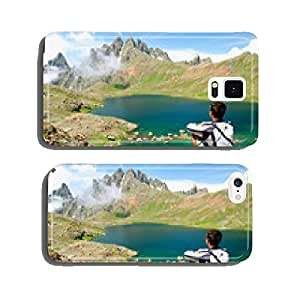 Man admiring a beautiful lake in the mountains cell phone cover case iPhone6 Plus