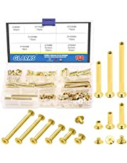 Glarks 80 Sets Chicago Screws Assortment, M5 x 6/15/25/35/45/55 Brass Plated Screw Posts Bookbinding Posts Binding Screw Chicago Button Post Rivets Screw Belt Screws Leather Photo Albums Screw