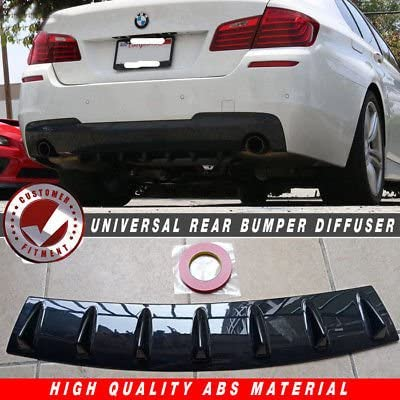 Universal Car Lower Rear Body Bumper Guard Lip Diffuser Shark Fin Spoiler Gloss