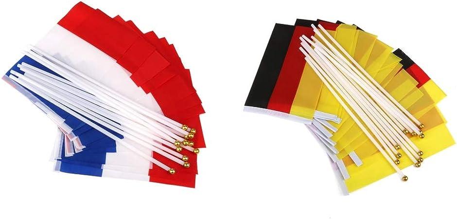 France Drapeaux Nationaux Main Agitant Drapeau avec M/âts P Prettyia 24pcs Allemagne 14x21cm