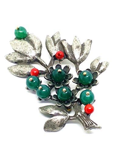 Vintage Silver Gemstone Green Jade Beads Branches Brooch Pin