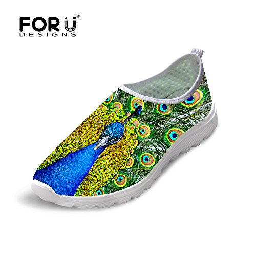 Comfortable Print Shoes Running Men Mesh Women U DESIGNS Slip amp; Animal On Cool Breathable FOR Peacock WnR06qI7q