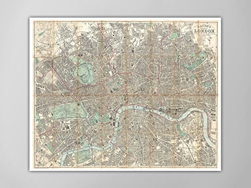 London Map Poster, Antique Map of London, 1890 Map of London, Home Decor, London Map Wall Art, London Map Poster, Giant London Map Poster