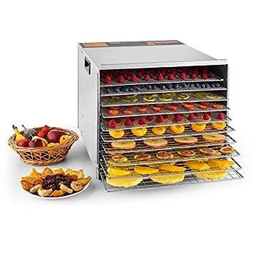 Klarstein Fruit Jerky Pro 6 /• Robot d/éshydrateur /• 630 Watts /• 6 Niveaux /• Plateaux ind/épendants /• temp/érature r/églable /• s/échage sur 0,65 m/² /• bo/îtier INOX /• fa/ça