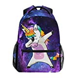 Wamika Dabbing Unicorn Backpacks Nebula Galaxy Laptop Book Bag Cute Funny Casual Extra Durable Backpack Lightweight Travel Sports Day Pack for Men Women