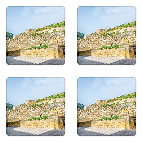 Ambesonne Sicily Coaster Set of 4, Modica Italy Tourism Island Attraction Historical Landmark Houses Mountain Valley, Square Hardboard Gloss Coasters for Drinks, Multicolor