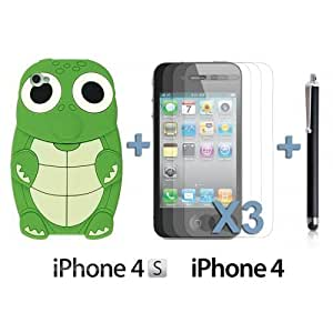 Turtle Style 3D Silicone For Iphone 5C Case CoverGreen with 3 Screen Protectors and Stylus