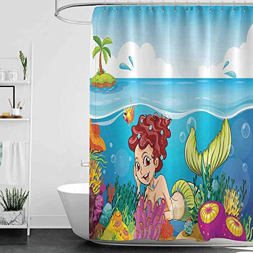 homecoco Shower Curtains Fabric Gray Mermaid Decor,Illustration of a Smiling Mermaid Under The Sea Garden Palm Tree Island W48 x L84,Shower Curtain for clawfoot tub
