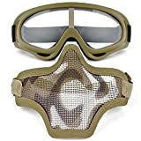 Fansport Outdoor Game Mask Practical Protective Half Mesh Mask with Sports Goggles