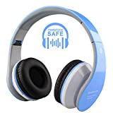 Wireless Bluetooth Headphones for Kids Boys Girls On Ear,Built-in Mic,Stereo Sound ,3.5mm Audio Jack Cable for Pc Tablet Cellphone(Blue)