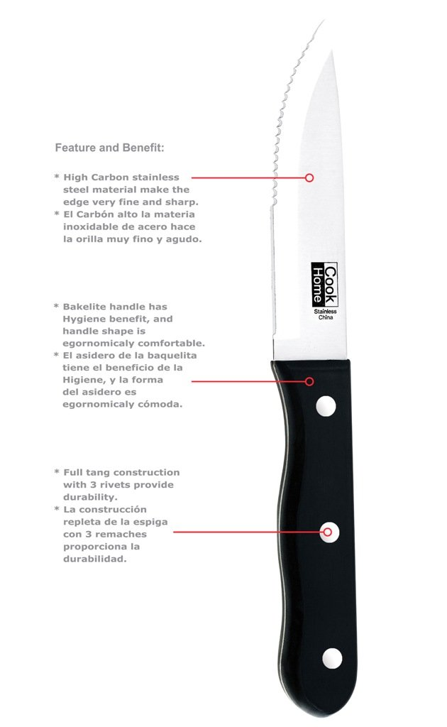 Cook N Home 8-Piece Steak House Style Steak Knife Set, Stainless Steel by Cook N Home (Image #2)