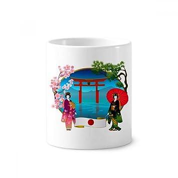 Kimono - Soporte para bolígrafo de cerámica con forma de paraguas de cultura japonesa para niñas