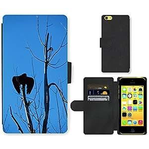 PU LEATHER case coque housse smartphone Flip bag Cover protection // M00129508 Buitre de Turquía, Árbol, Cielo Sombra // Apple iPhone 5C