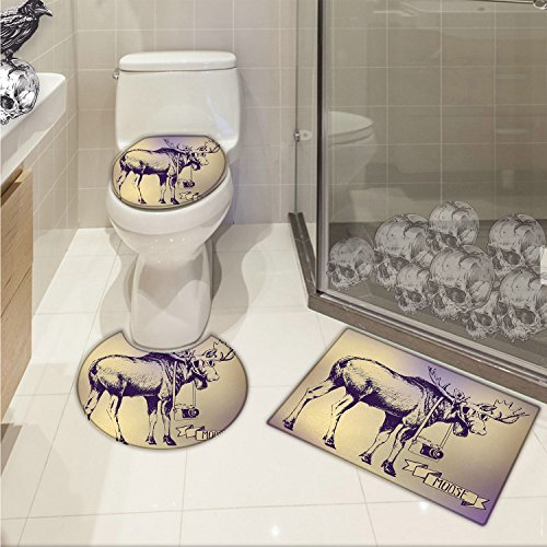 Moose 3 Piece Toilet mat set Hipster Deer with Shade Sunglasses and Camera Vintage Ombre Design Funny Animal Art Printed Purple Beige