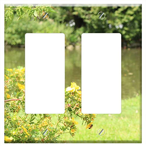 Switch Plate Double Rocker/GFCI - Lake Nature Bank Summer Relax