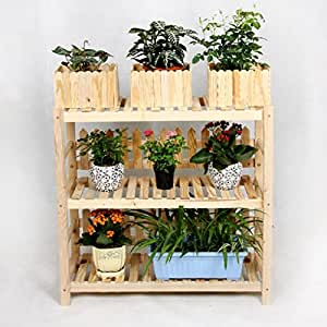 Solid Wood Floor-type Flower Racks Bonsai Frame Multi-function Shelves Living Room Balcony 3 Floors LWH: 702860cm