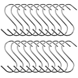 BEWISHOME 30 PCS S Hooks,Heavy Duty Kitchen Hooks,S Shaped Hooks Hangers Closet Hooks for Pants,S Hooks for Hanging Pots and Pans,Kitchenware Bags Towels Plants,Chrome FYC05S