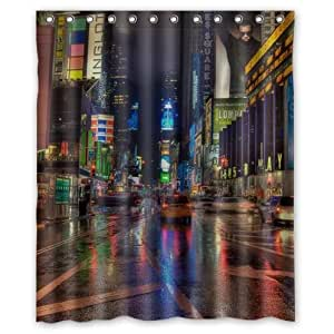 Best Custom New York City Times Square at night,New York City At Night Custom 100% Polyester Waterproof Shower Curtain 60 x 72