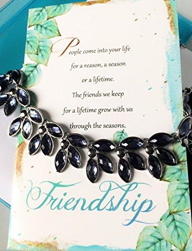 Smiling Wisdom - Navy Blue CZ Vine Leaf Statement Necklace Friendship Gift Set - Reason Season Lifetime Friendship Greeting Card - Unique Gift Set For Her, Good or Best Friend - Limited Edition