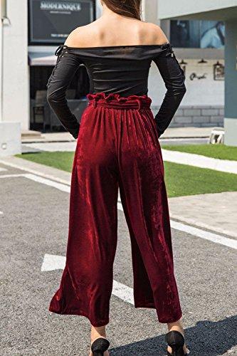 Hiver Long Avec Patte Femmes Haute Les Pantalon Bas Échelle D'automne Wine Taille Pantalons Ceinture aXPxZz