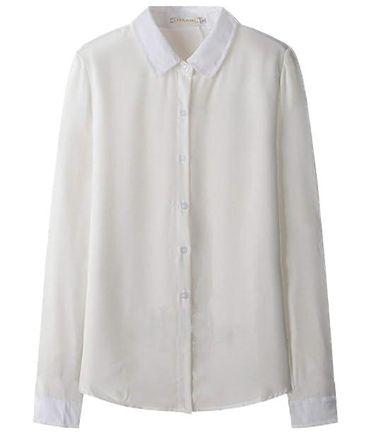 Señoras del Verano Gasa Camisas Tops De Solapa Moda Manga Larga Blusas Ocio Mode De Marca Elegante Blusa De Oficina Tops Camisas: Amazon.es: Ropa y ...