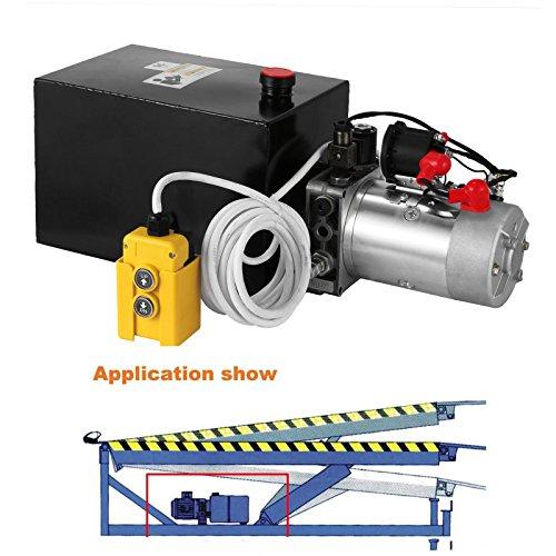 Mophorn Hydraulic Pump Unit 6 Quart Single Acting Hydraulic Power 12V DC Steel Tank Hydraulic Pump Power Unit for Dump Trailer Car Lifting (6 Quart Steel Single (Hydraulic Unit)