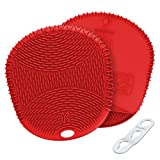 KozyGear Premium 442 °F Heat Resistant Silicone Glove Holder/Oven Mitt Pair Set for Hot Pot [Z4 Series] (RED)