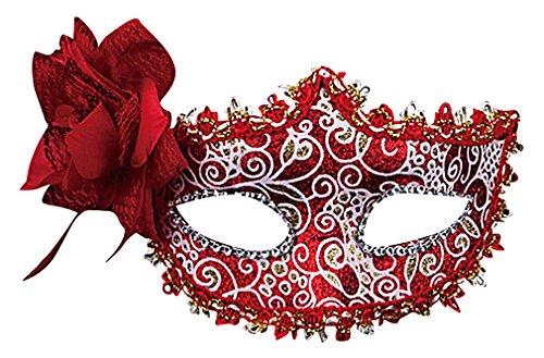 Maze Women's Colorful Sensual PVC Lace Floral Applique Venetian Eye Masks, Red One Size ()