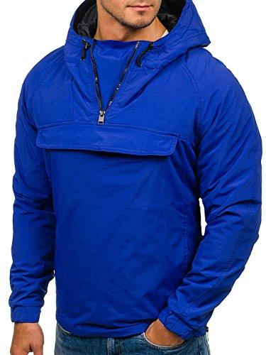 Blu Cappuccio Casual Cerniera 4d4 – Giacca Con Bolf Uomo Collo Alto Motivo PtwqpatUx