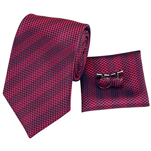 Hi-Tie New Arrival Mens Red Striped Plaid Tie Necktie Pocket Square and Cufflinks Tie Set Gift Box