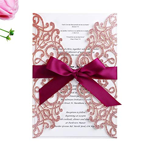 (PONATIA 25PCS 5.12 x 7.1 '' Laser Cut Rose Gold Glitter Wedding Invitations Cards with Burgundy Ribbons for Wedding Bridal Shower Engagement Birthday Graduation Invitation Cards (Rose Gold Glitter))