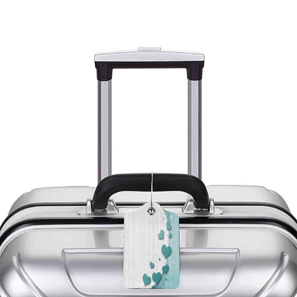 Small luggage tag Valentines Day Turquoise Love Valentines Day Romance with Hearts Stars Wedding Happiness Theme Quickly find the suitcase White Turquoise W2.7 x L4.6