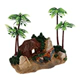 MagiDeal Mini Resin Plastic Artificial Coconut Palm Tree Aquarium Plants Ornament - #1