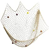 Decorative Fishing Net,YOAYO Sea Theme Nautical Fish Net Decor for Home/Patio Wall Decoration,Photo Hanging Display Frames,79x59inches,Beige