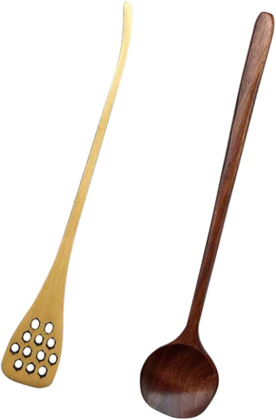 Zhongtou Honey Spoon Wooden 16cm with Long Handle Pack of 2