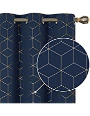 Deconovo Gold Diamond Foil Print Blackout Curtains Room Darkening Thermal Insulated Sun Blocking Grommet Curtain Panels for Living Room 2 Panels