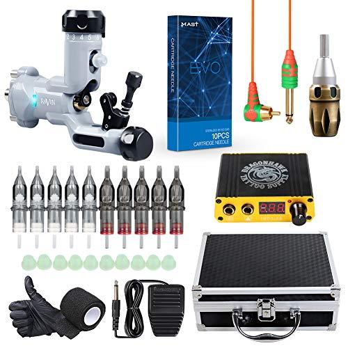 Raven Rotary Tattoo Machine Kit Mast Cartridges Needles Tattoo Grip Power Supply Gift Box (Best Rotary Tattoo Machine For Black And Grey)