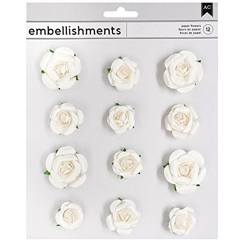 Flower Paper Stickers - American Crafts 346677 Paper Flowers White