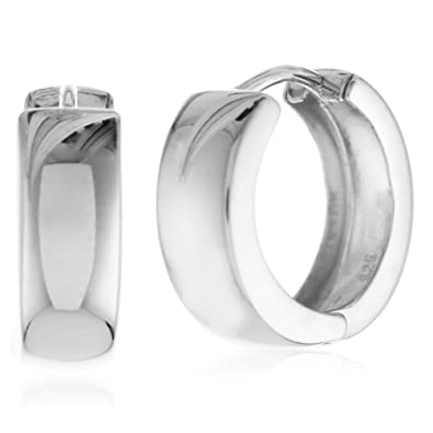 5c50fc4a0 Amazon.com: 925 Sterling Silver Wide Huggie Hoop Earrings High Polished  Shiny (0.6