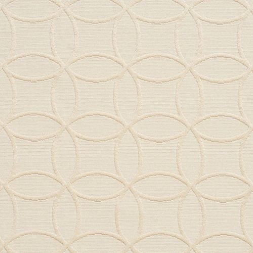 Beige Interlocking Geometric Circles Rings Diamond Jacquard Brocade Upholstery Fabric by the yard - Geometric Upholstery