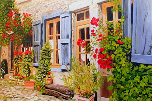 French Door Art Oil Painting Giclee Print by Martha Adams, 8x12 or 12x18 print, oil painting, scenic French countryside, door, windows, roses, leaves