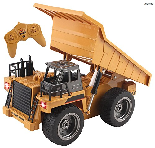 Memtes 6 Channel Full Functional Remote Control Dump Truck Construction Toy, Die-Cast Front, with Lights