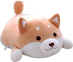 Shiba Inu Dog Plush Pillow, Soft Cute Corgi Stuffed Animals Doll Toys Gifts for Valentine, Christmas, Birthday, Bed, Sofa Chair (Brown Round Eye, 21.3in)
