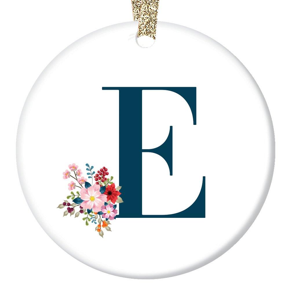 Amazon.com: Letter E Ornament, Girls Name E Initial Christmas ...
