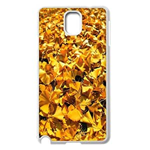 {Funny Series} Samsung Galaxy Note 3 Case Golden Autumn Leaves, Cute Design Case Okaycosama - White