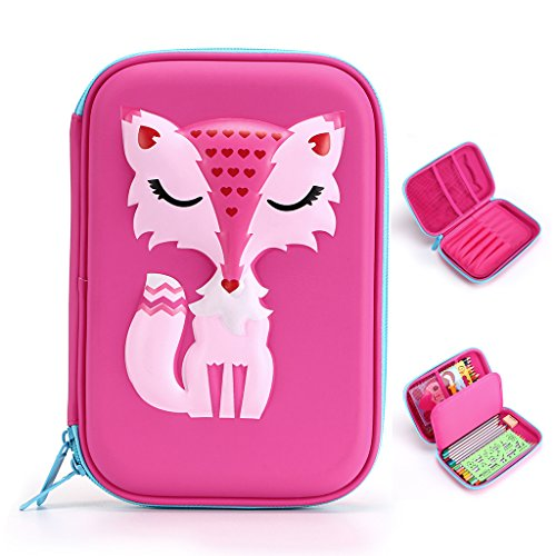 BTSKY Cartoon Fox Kids Pencil Case- Hard Shell EVA Pen Pencil Organizer School Stationery Holder for Boys and Girls (Pink) by BTSKY