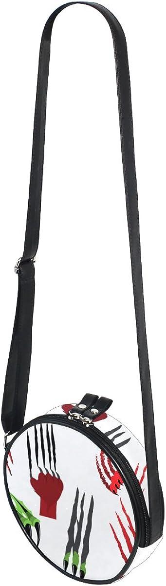 XinMing Animal Footprints Girl Round Crossbody Shoulder Bags Adjustable Top Handle Bags Satchel for Women