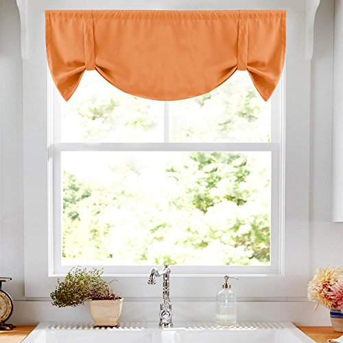 Tie-up Valance for Kitchen Windows Tie Up Shade for Small Window Room Darkening Curtain Adjustable Window Valance Balloon Blind, Rod Pocket, 20